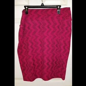 Lularoe Fuschia Chevron Cassie Pencil Skirt
